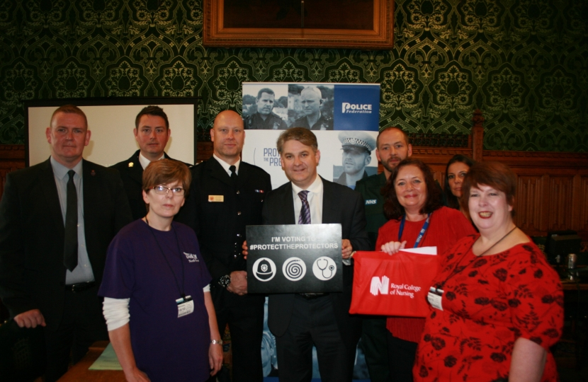 Philip meeting with emergency workers as he supports the Assaults on Emergency Workers (Offences) Bill