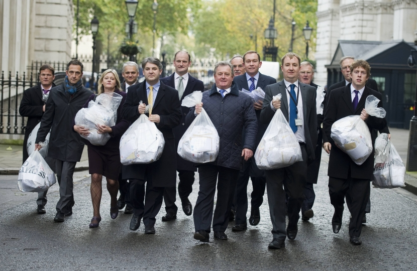 Philip with MPs walking to No.10 to hand petition 'Say No to new EU migrants'